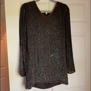 Iridescent brown sequin blouse